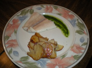 Poached Fish w Pistou and Pommes Anna